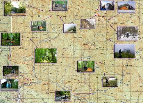 карта поход хребет Шуха